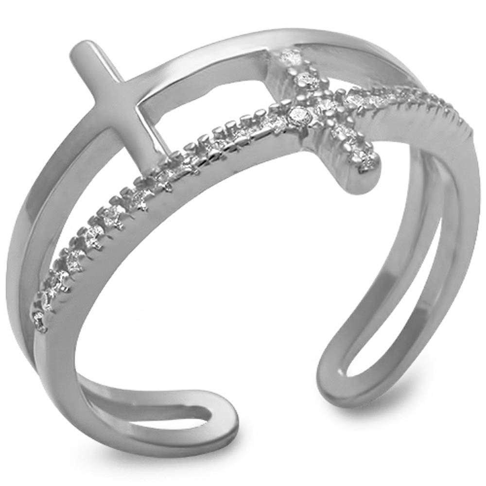 Plain /& Cz Sideways Cross .925 Sterling Silver Ring Sizes 4-10
