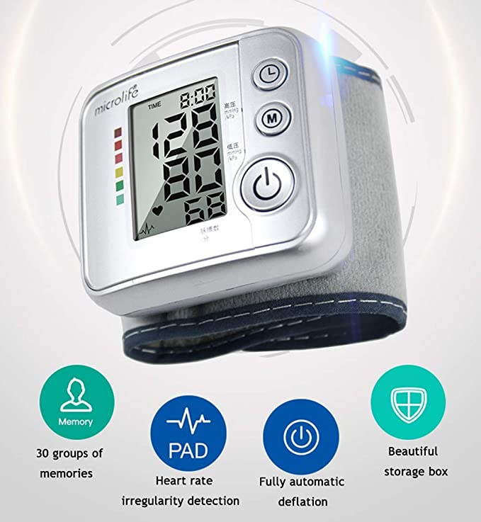 Tensiómetro de muñeca,Tensiómetro Digital De Muñeca Totalmente Automático Presión Arterial Y Detección De Pulso Arrítmico,Memoria 30 Mediciones: Amazon.es: ...