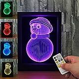 3D Snowma Night Light 7 Colors Visual Illusion Lamp Remote Control Lamp Kids Living/bedroom Table/desk Led Photo Frame