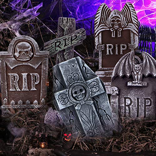 17 Inch Halloween RIP Graveyard Tombstones-5 Pack Halloween Decorations with 12 Metal Stakes for Outdoor Yard Decoration