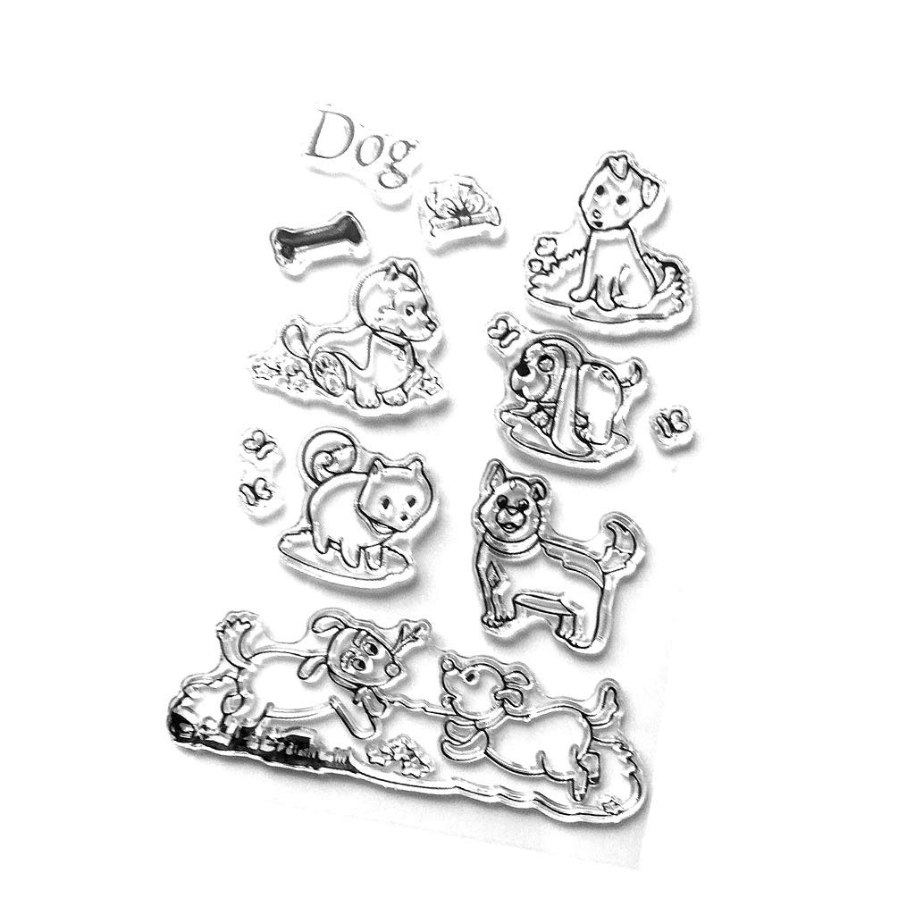 Dog Transparent Clear Silicone Rubber Stamp Seal for DIY Crafts Diary Notebook Scrapbook Album Decoration Kids Children Christmas Card Making