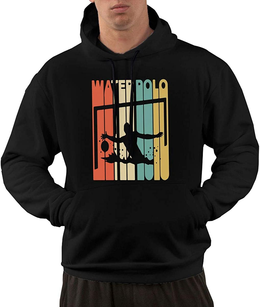 Mens Pullover Hoodie Sweater with Pockets Vintage Retro Style Water Polo