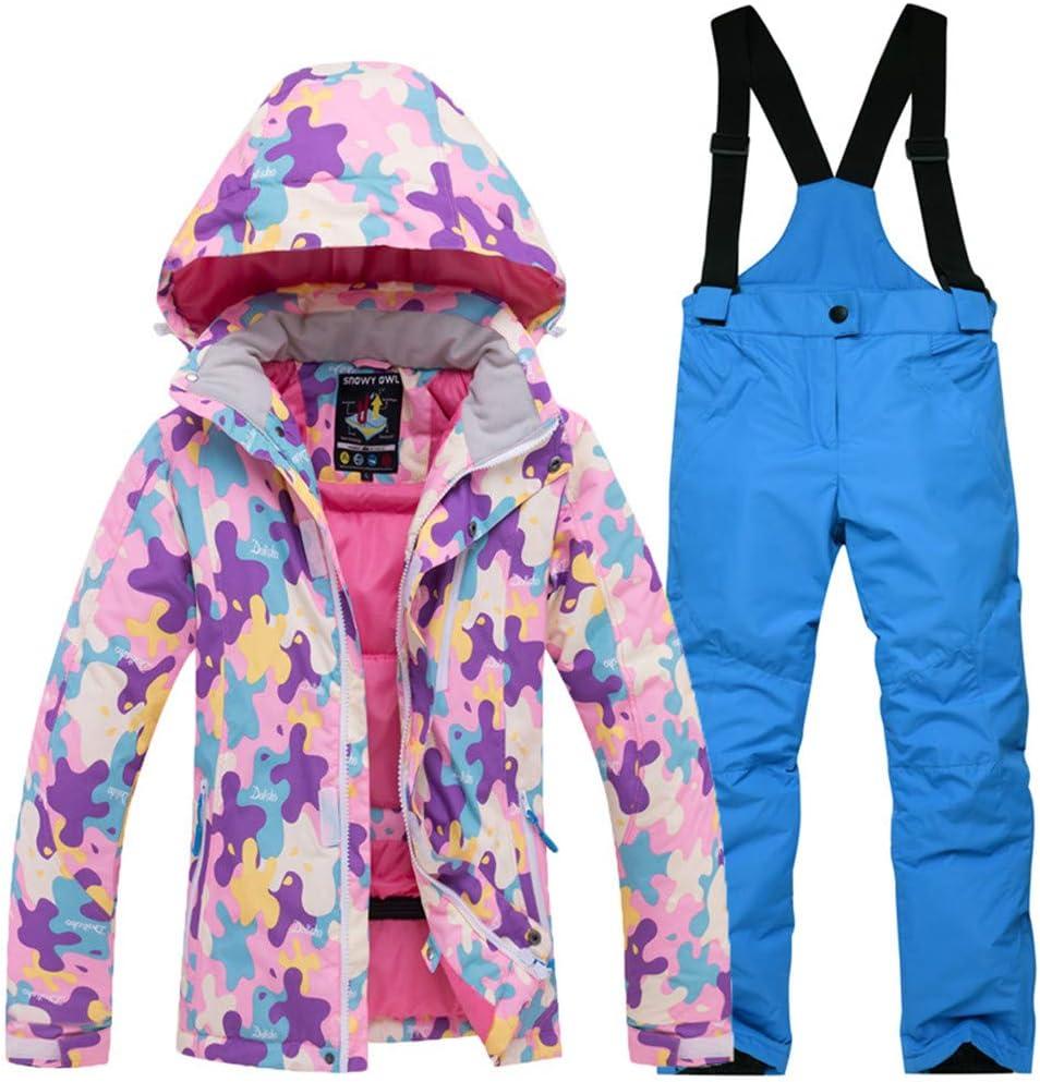 子供のスキーウェアセットの女の子防風防水厚く暖かい屋外ジャケット綿服男の子 (色 : ピンク top+sapphire 青, サイズ : M) ピンク top+sapphire 青 Medium
