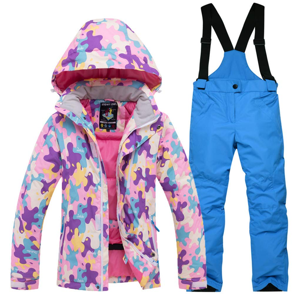 Girls Snowsuits Hooded Insulated Windproof Waterproof Ski Jacket and Snow Pants Set