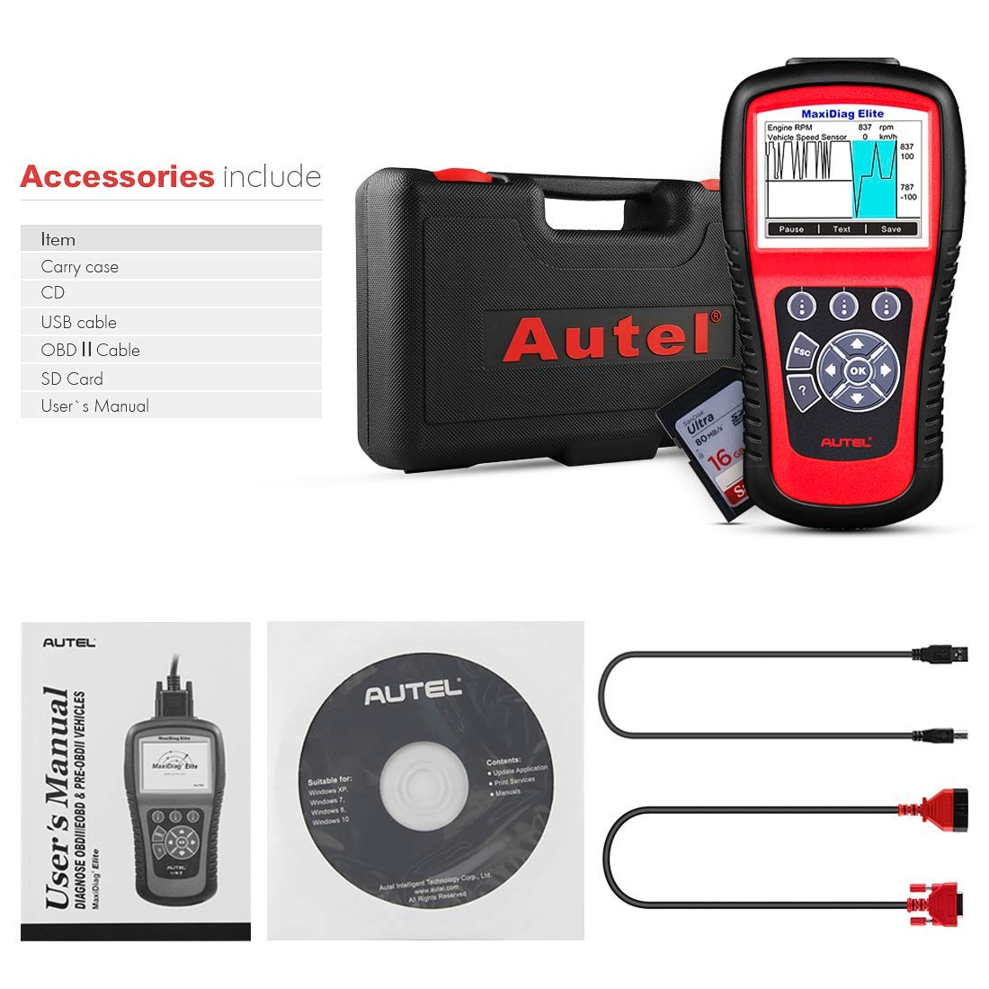 Autel Scanner MD802 Maxidiag Elite Diagnoses for ABS, Engine, Transmission, Airbag, EPB, Oil Service Reset Code Reader OBD2 Diagnostic Tool by Autel (Image #7)