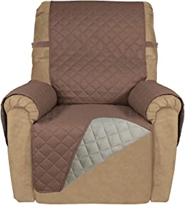 PureFit Reversible Quilted Recliner Sofa Cover, Water Resistant Slipcover Furniture Protector, Washable Couch Cover with Elastic Straps for Kids, Dogs, Pets (Recliner, Brown/Beige)