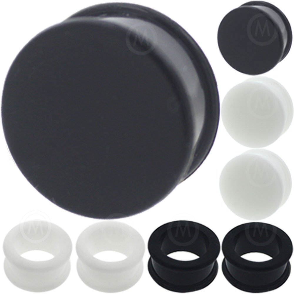 8 pieces mix color 3mm to 26mm silicone flesh tunnels plugs black white MoDTanOiz
