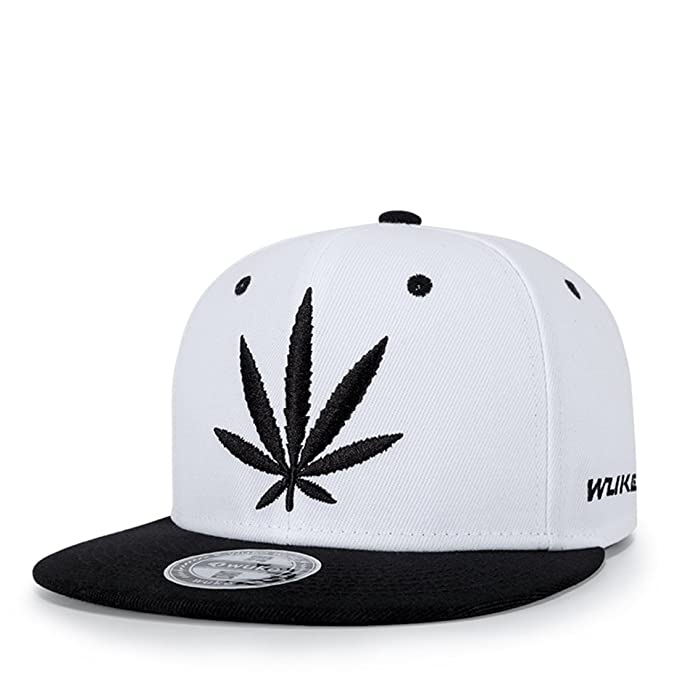 0b2c421a791 Topcoco Weed Pot Adjustable Baseball Cap 3D Embroidered Flat Bill Snapback  Hat Black on White