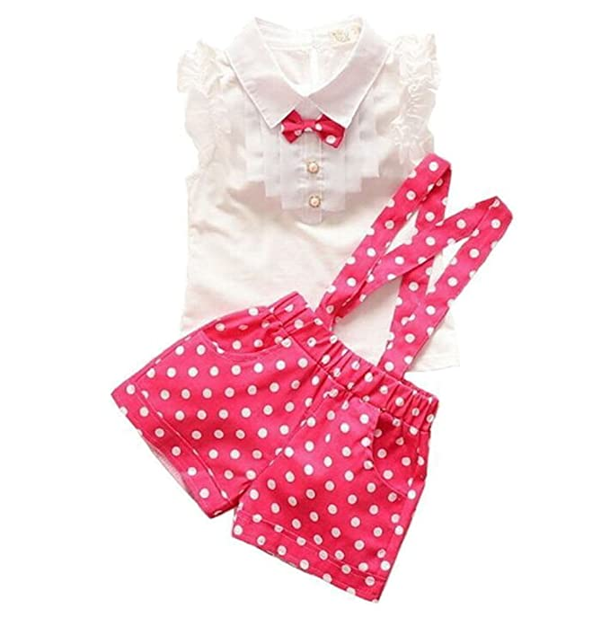 Vintage Style Children's Clothing: Girls, Boys, Baby, Toddler Baby Girls Bow Short Sleeve Shirt + Suspender Shorts Set $11.99 AT vintagedancer.com