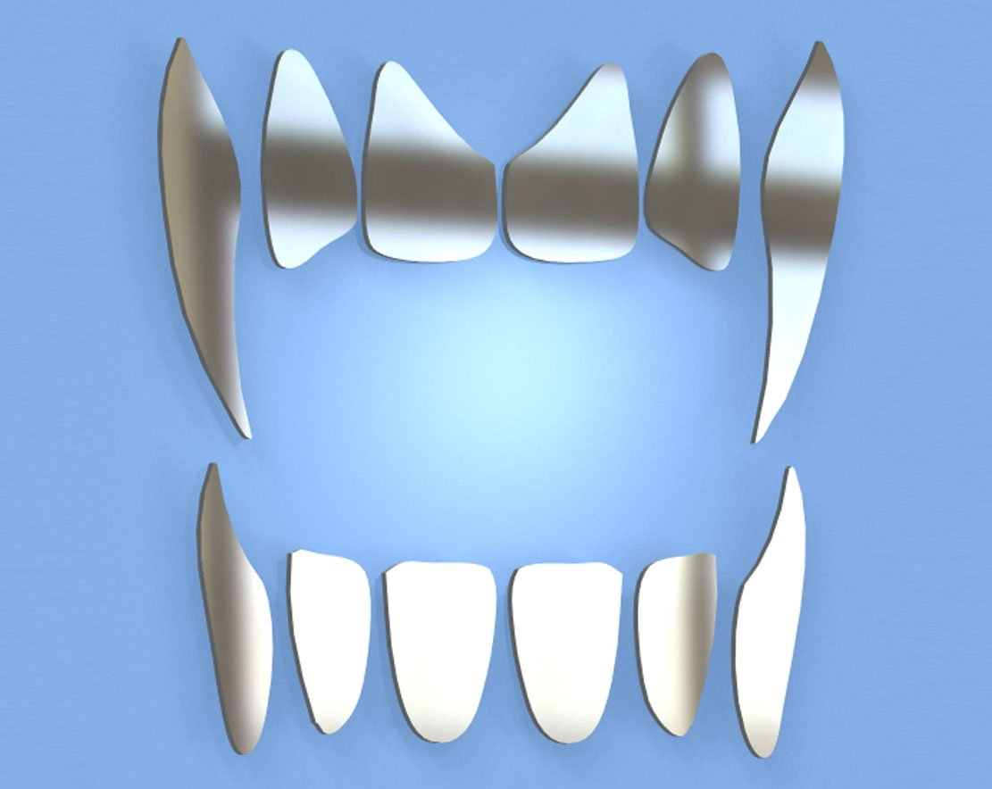Vampire Teeth Mirror - Available in various sizes, including sets for crafting kits - Set of 10 (5cm each)