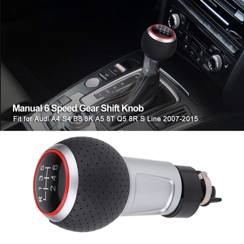 Perilla de palanca de cambios del autom/óvil cabezal de perilla de cambio de marcha manual de 6 velocidades para A4 S4 B8 8K A5 8T Q5 8R S Line 2007-2015 Rojo