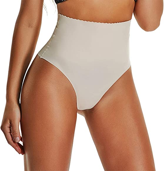 44636a6e140b64 Thong Shapewear for Women Waist Cincher Girdle Tummy Slimmer Sexy Thong  Panty Shaper Seamless Underwear Beige
