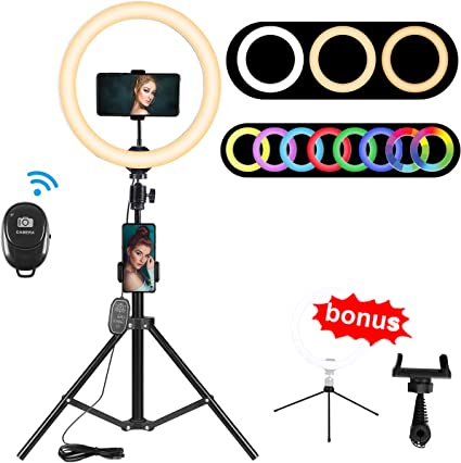 Ring Light with Tripod Stand Selfie,Purple,8 Camera 3 Color Modes and 10 Brightness USB PoweredPhone Holder for Live Streaming Makeup 6 8 10 Dimmable Ring Light