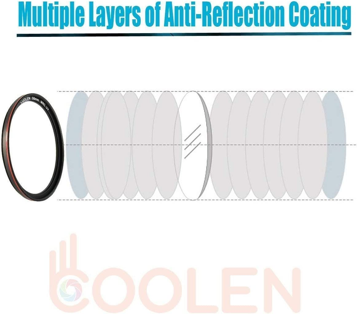 Coolen 40.5mm Professional High Definition MRC Ultra Thin Multi-Coated UV Protector Filter with Outer Frame Red Plating//Waterproof // Impact-Resistant Plastic Filter Case