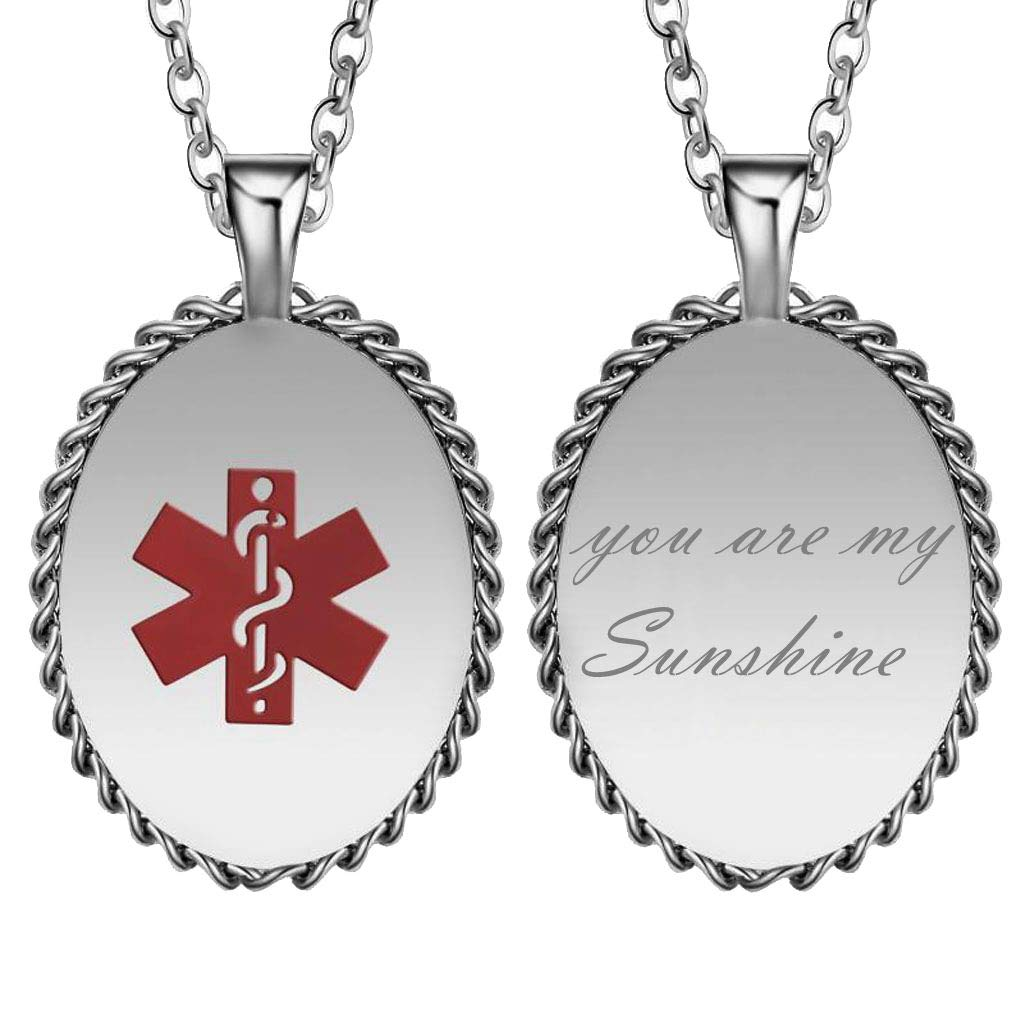 CliPons Medical Alert Womens Mens BFF Necklace Inspirational Pendant Quote You are My Sunshine