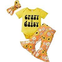 Toddler Newborn Baby Girl Summer Outfit Letter Print T Shirt Top Bell-Bottom Sunflower Flared Pants Headband Clothes Set