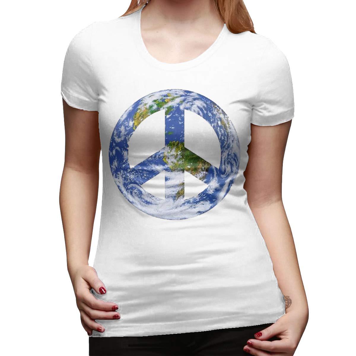 Smooffly Women World Peace Sign Crew Neck Short Sleeve Tee