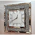 Gatsby Modern Diamante Crystal Mirror Glass Square Wall Clock 50cm Silver 205