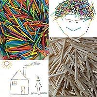 WellieSTR 5000Pcs/Lot 50 x 2 x 2mm Wooden Matchsticks DIY Matchsticks Rainbow Colour Match Sticks Mini Craft Sticks Children Early Educational Toy Gifts