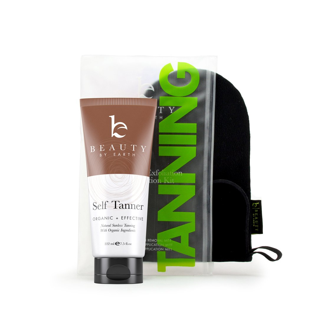 Self Tanner & Tanning Application Kit - Bundle of Sunless Tanning Lotion Made With Natural & Organic Ingredients, Exfoliation Mitt, Body and Face Applicator Glove for a Professional Self Tan by Beauty by Earth (Image #1)
