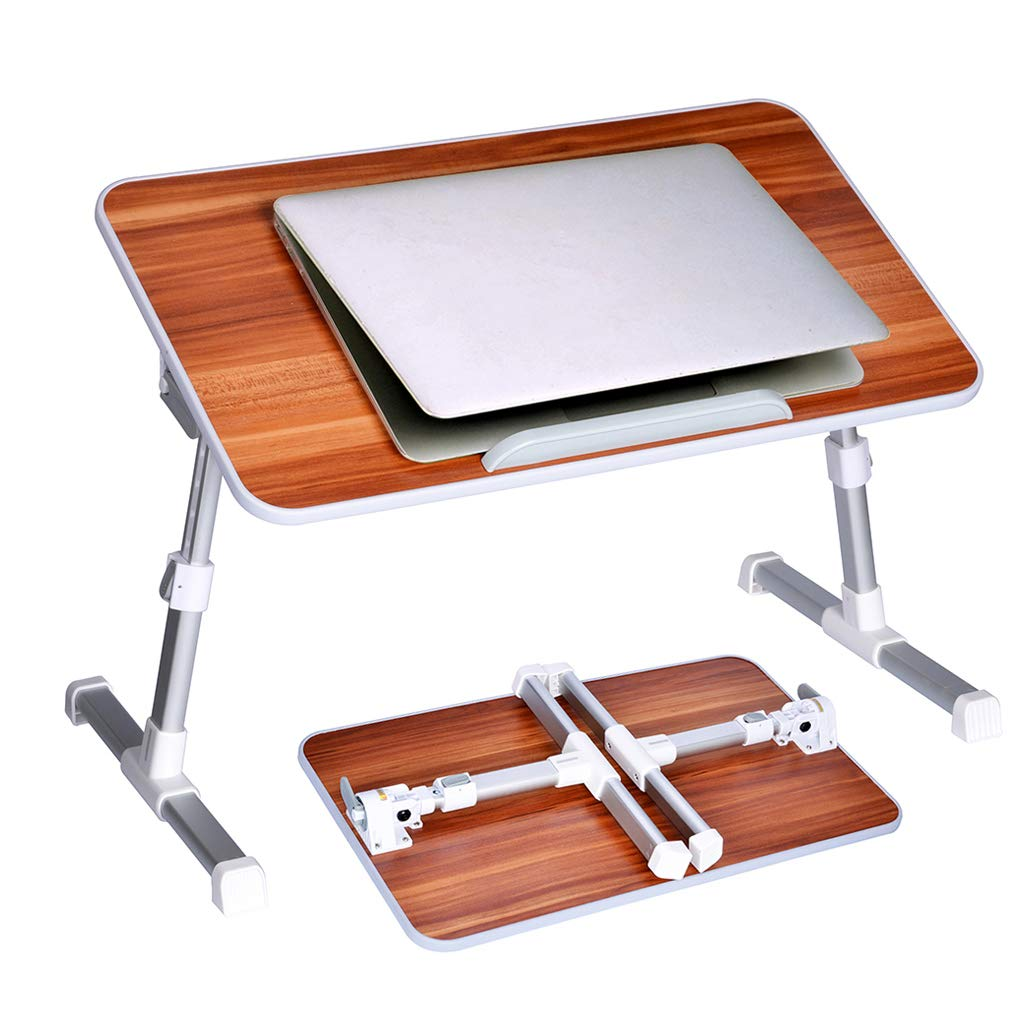 Neetto Adjustable Bed Table, Portable Laptop Standing Desk, Foldable Sofa Breakfast Tray, Notebook Stand Reading Holder for Couch Floor - American cherry by Avantree