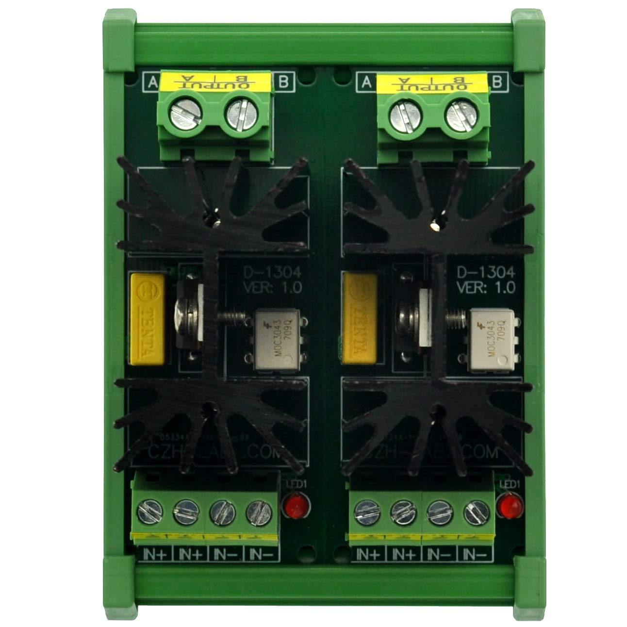 CZH-LABS DIN Rail Mount 12 Amp Solid State Relay SSR Module in 4~32VDC Out 100~240VAC. 2 Channels