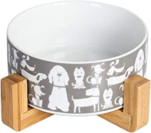 Dog Food Bowl Water Feeder - Non Slip Durable Ceramic Cat Bowl Dish for Dogs Cats Rabbits Puppy,with Wood Stand,28 Ounces (Grey)