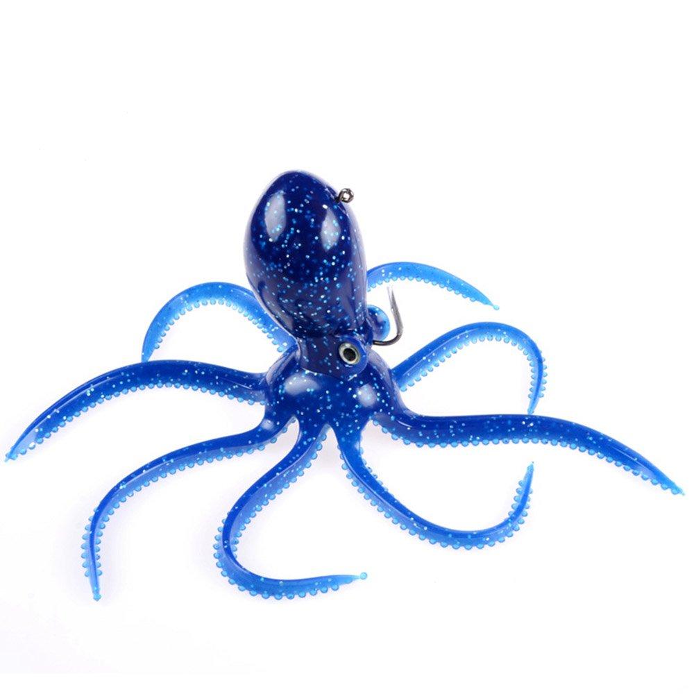 East Rain Artficial Octopus Soft Baits for Fishing Lures,Soft Lead Sinking Swimbait,Jig Head Lure(PVC, 7.87inch/6.35oz/Blue)