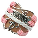 Amazon Price History for:Handmade Sister Heart to Heart Charm for Friendship Gift - Fashion Personalized Leather Bracelet for Girl - Pink+White