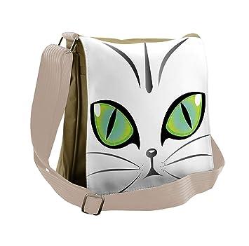 Amazon com | Ambesonne Messenger Bag, Siberian Cat Watchful