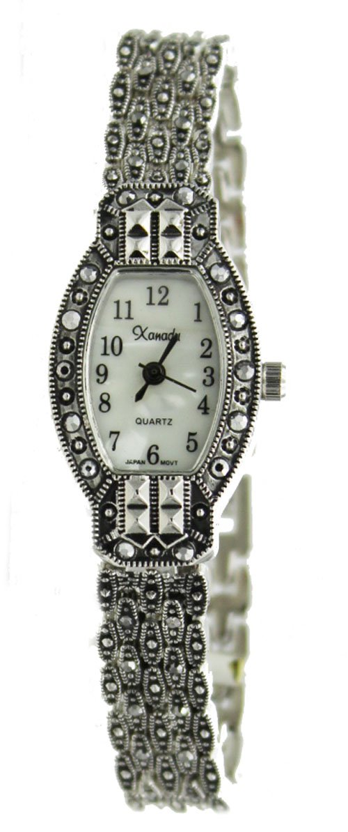 Exclusive Vintage Style Oblong Marcasite Ladies Bracelet Watch