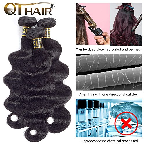 QTHAIR 10A Brazilian Virgin Body Wave 3 bundles 20'' 22'' 24'' Natural Color Unprocessed Brazilian Virgin Hair Body Wave Hair Weave Remy Wavy Wholesale Hair by QTHAIR (Image #3)