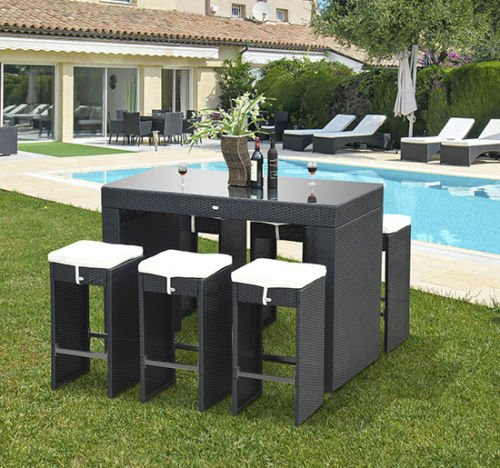 Outsunny 7pc Rattan Wicker Bar Stool Dining Table Set  : 61uYxK3QYsL from www.bta-mall.com size 500 x 468 jpeg 66kB