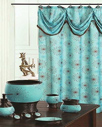 BH Home & Linen Decorative Scarf Shower Curtain with Floral & Striped Designs 70' x 72 Inch Made of 100% Polyester. (Dante Aqua)