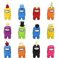 12pcs Among Us Merch Figurine, Mini Cute Figuras de juego Colección Juguetes Muñecas extraíbles Adornos Cumpleaños para…