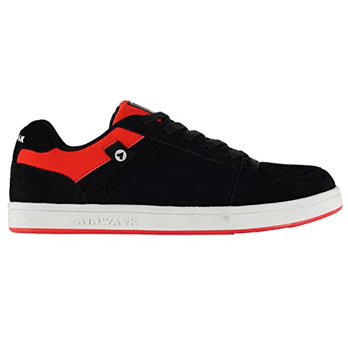 a7522bda6 Airwalk Mens Brock Skate Shoes Lace Up Suede Accents Sport Casual Trainers  Black Red CS4  Buy Online at Low Prices in India - Amazon.in