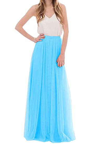 1d0fe96280dfd Omela Women Long Maxi Skirts 3 Layers Tulle Wedding Prom Party Dress Blue,  Size 6