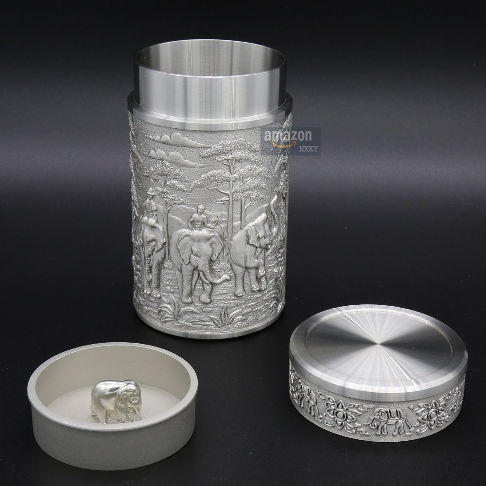 Oriental Pewter - Pewter Tea Storage, Caddy -TPCM4- Hand Carved Beautiful Embossed Pure Tin 97% Lead-Free Pewter Handmade in Thailand by Oriental Pewter (Image #3)