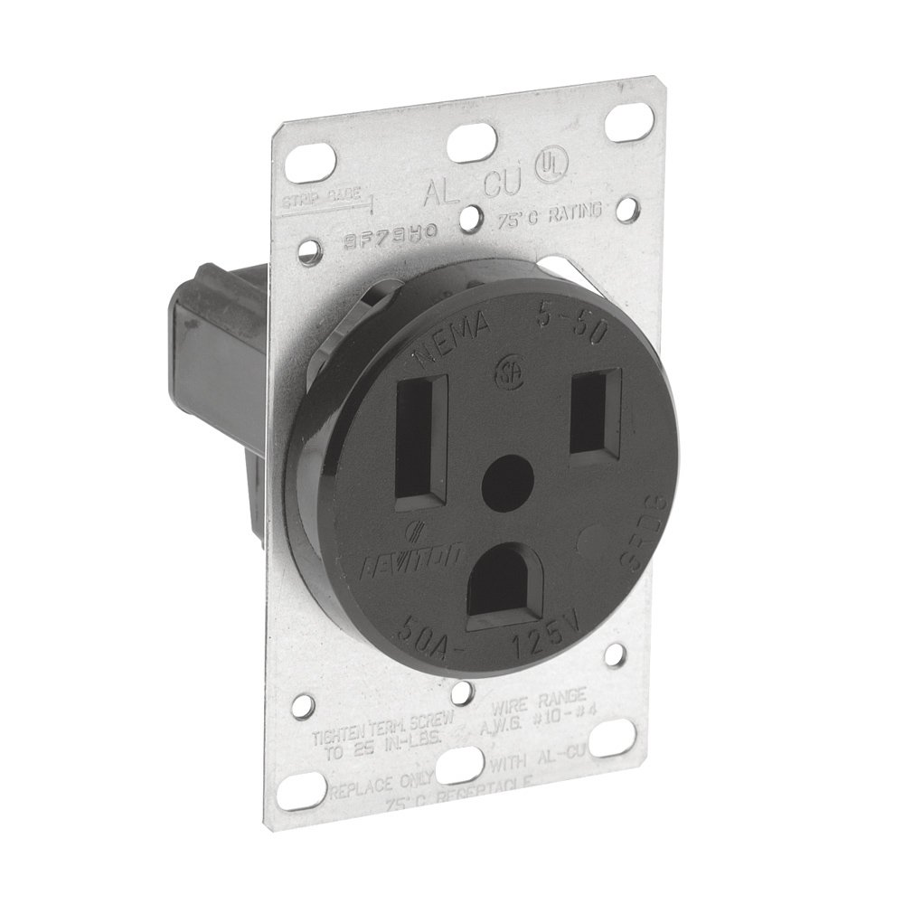 Leviton 5373 50 Amp 125 Volt Flush Mounting Receptacle Industrial Receptacles Wiring Diagram Grade Straight Blade Grounding Black Outlets Accessories Amazon Canada