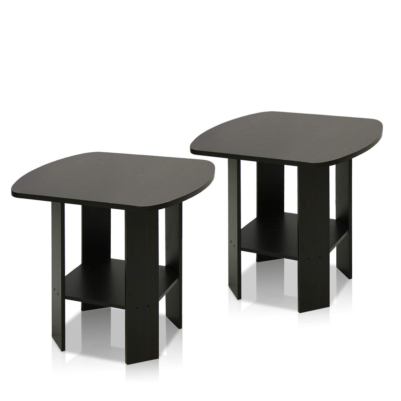 FURINNO Simple Design End Table, 2-Pack, Espresso by Furinno