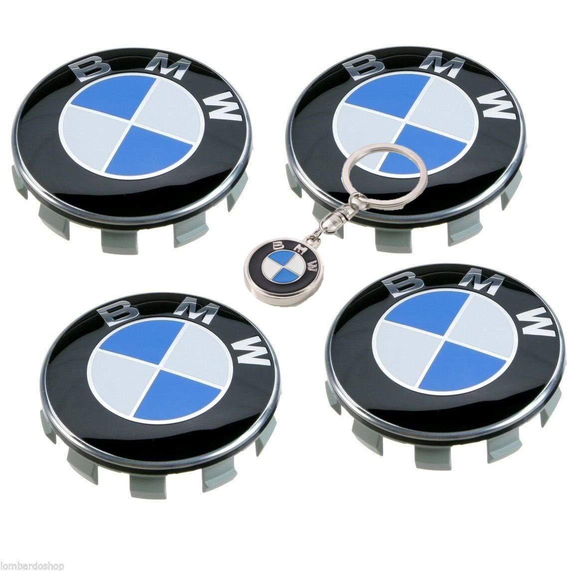 Tapacubos Bmw 68mm 4 piezas + llavero GRATIS de calidad en Regalo Incluido, para llantas de aleación universal, tapas con logotipo para la serie 1 2 3 4 5 6 ...