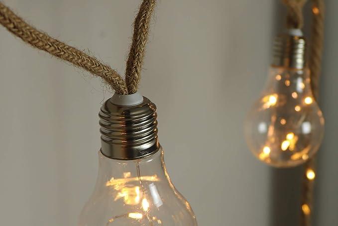 Tau Lichterkette LED Hanfseil mit 10 LED Birne Seillichterkette