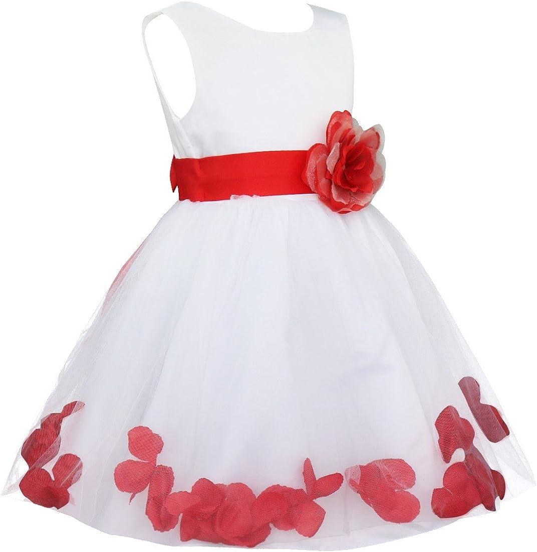 YiZYiF Vestito da Cerimonia Bambina Vestito da Principessa Elegante Fiore Petali Floreale Abito da Battesimo Sposa Damigella Senza Maniche Abiti Matrimonio Regalo Compleanno
