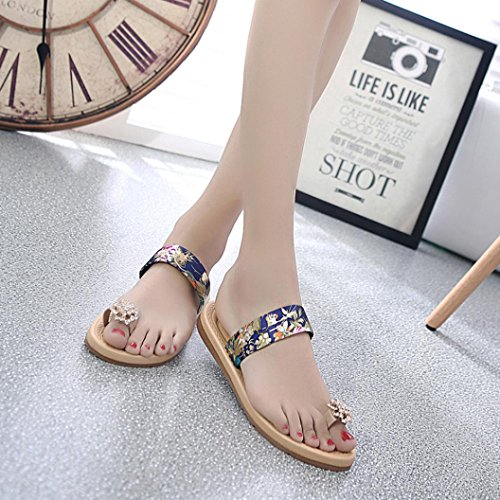Zehentrenner Frauen Flops flachen Schuhe Ouneed® Flops Flip Sommer Sandalen Flip Sommer arbeiten Böhmen Blau Slipper Erwachsene 7qnRgxw56n