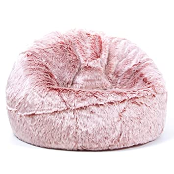 Surprising Icon Large Childrens Classic Faux Fur Bean Bags Luxury Furry Kids Bean Bag Chair Rose Pink Ibusinesslaw Wood Chair Design Ideas Ibusinesslaworg