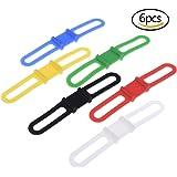 Bloomeet 6 PCS Bike Bicycle Light Silicone Band Led Flashlight Rubber Elastic Strips Bandage Belt Tie Clip Ribbon Mount Holder