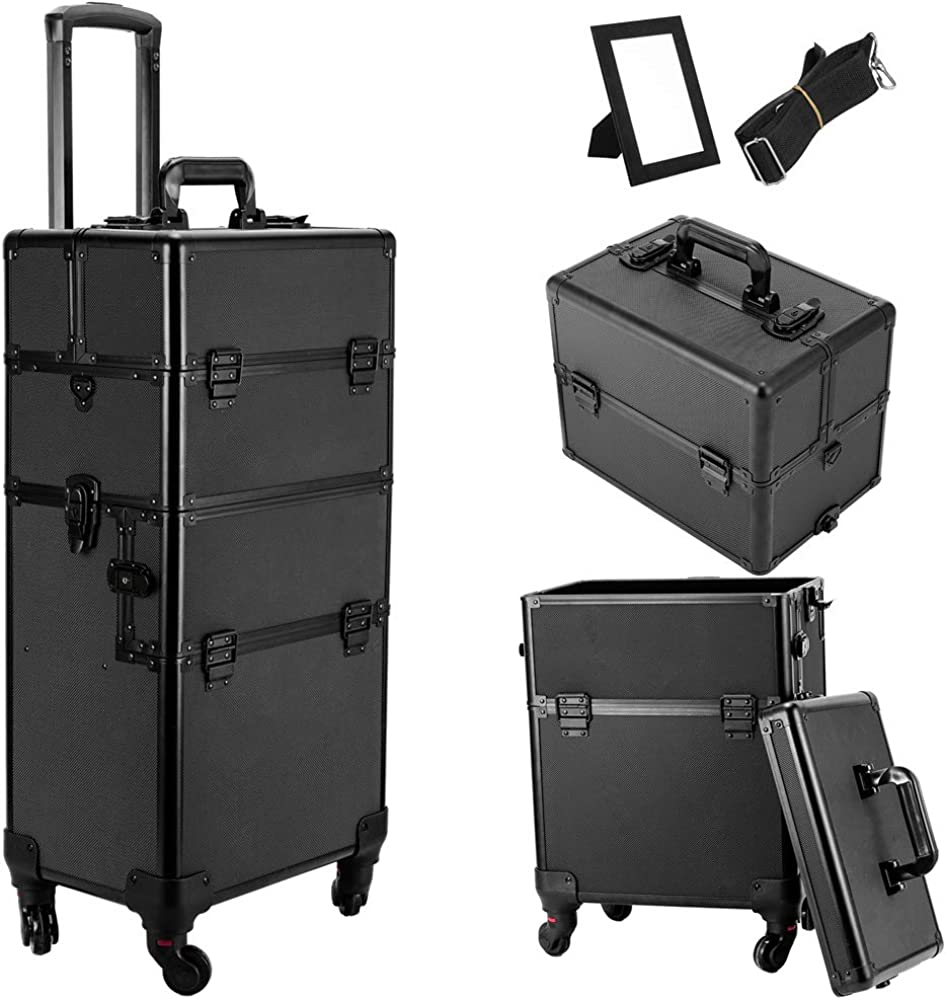 3 in 1 4 Wheel Pro Aluminum Rolling Makeup Cosmetic Train Case Lockable Wheeled Box 61uZ2BWHBRZLUL1000_