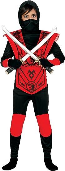 Guirca - Disfraz de ninja, para niños de 5-6 años, color rojo y negro ...