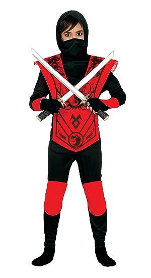 Guirca - Disfraz de ninja, para niños de 5-6 años, color rojo y negro (83257)