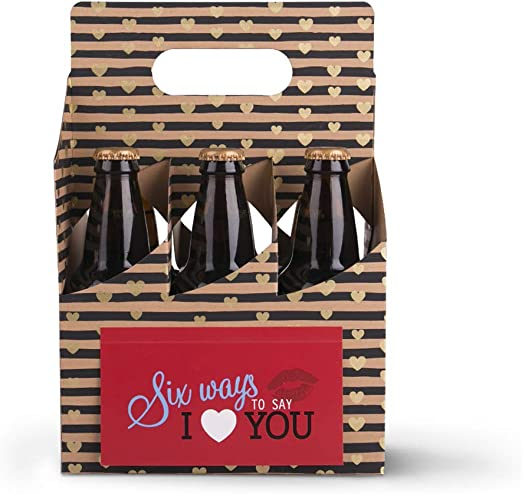 Amazon Com Waahome Valentines Gifts For Him Her 6 Pack Greeting Card Box Beer Gifts Beer Bottle Holder For Boyfriend Husband Wife Men Women Home Kitchen